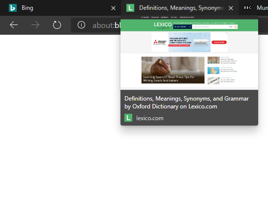 Tab preview in Edge Chromium when other tabs are hovered.