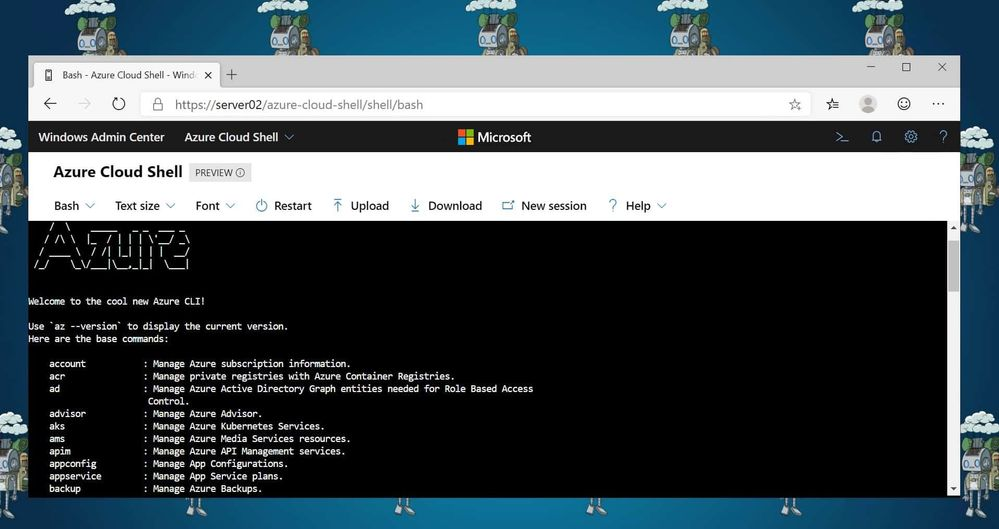 Azure Cloud Shell in Windows Admin Center