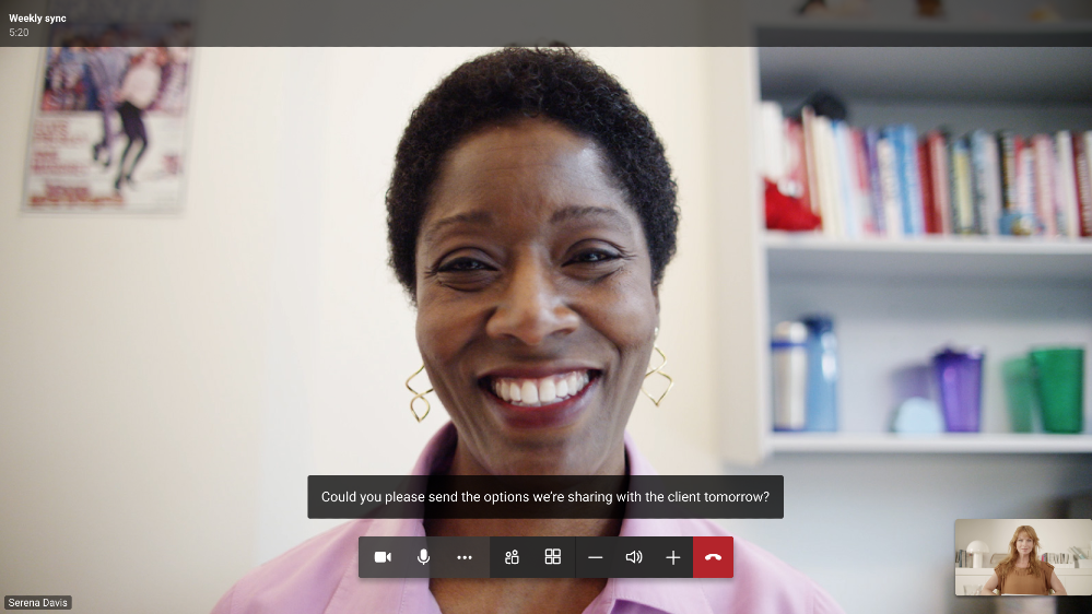 Microsoft Teams video meeting featuring live captioning