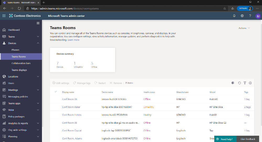 Teams Admin Center console featuring Teams Rooms devices