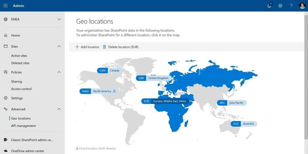 Setting up and managing your multi-geo environment is done through the SharePoint admin center.