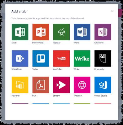 Tab options in Microsoft Teams