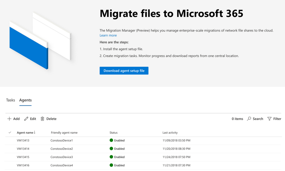 SharePoint admin center - Migration manager, showing multiple agents to scale migration.