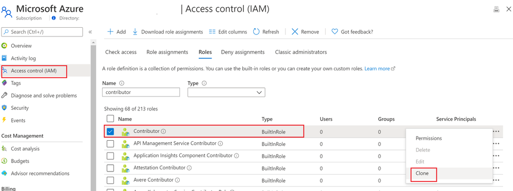 Clone Azure built Role of Contributor