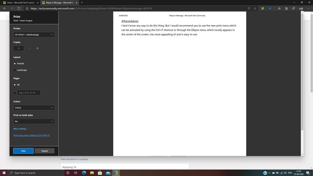 The new Print Dialog Box UI.