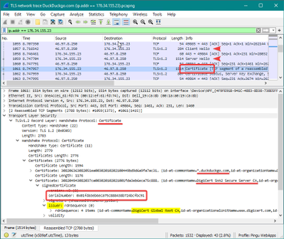 A network trace with Wireshark reveals the server certificate
