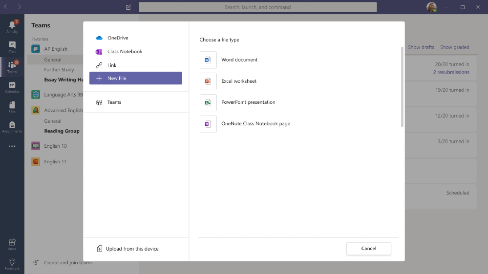 In Assignments, select a New File to create a new OneNote page