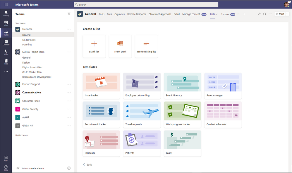 Create a new list from within Microsoft Teams and choose from numerous ready-made templates, including the new industry-specific ones.