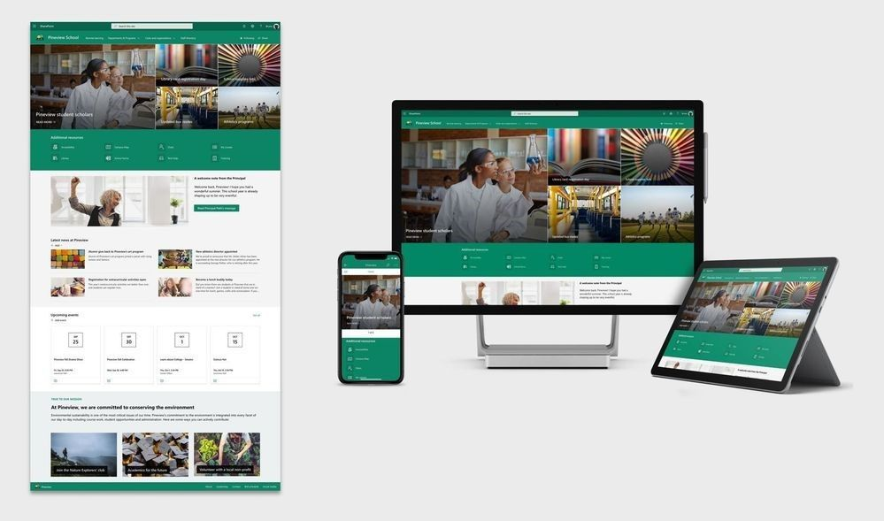 "SharePoint site template: ""School home page"" - across several screen sizes."