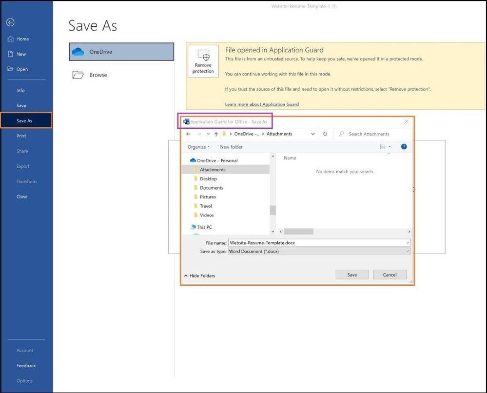 AppGuard save as options