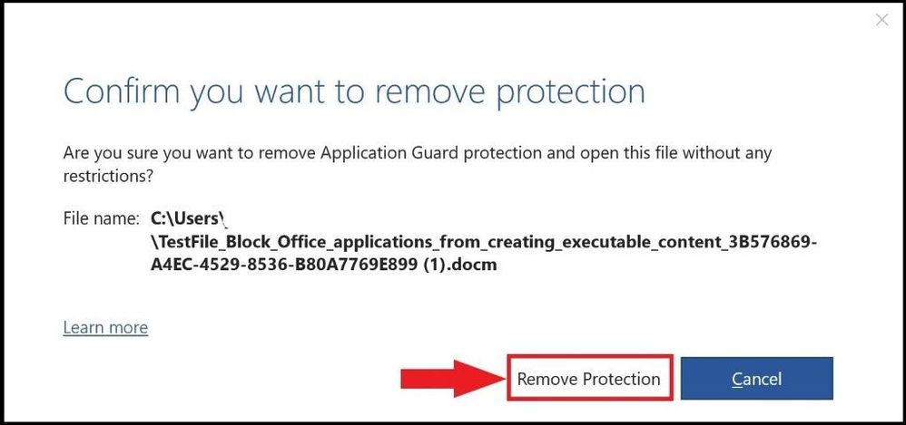 Removing protection confirmation