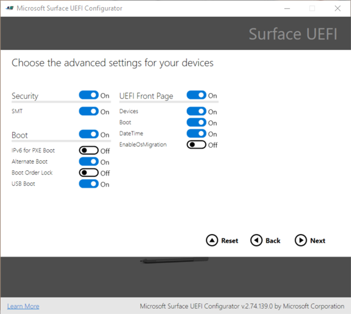 Photo of the Microsoft Surface UEFI Configuratuor showing the new EnableOSMigration setting