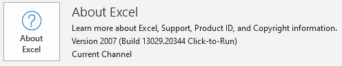 Excel version info from File > Account.