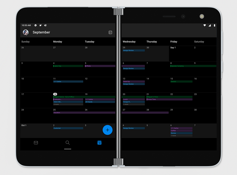 Outlook Calendar month view spanned across dual screens