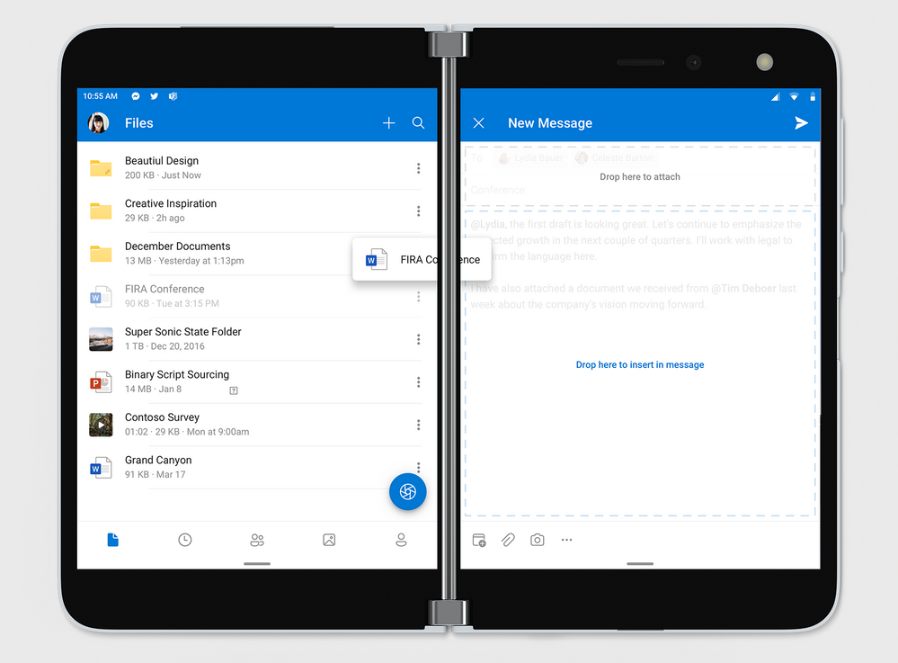 Drag and drop files from OneDrive as an attachment or a link