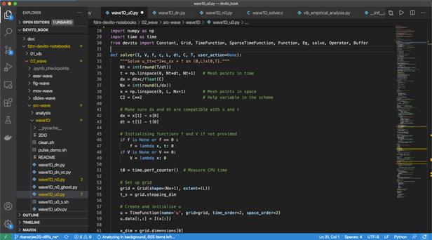 Using Visual Studio Code to write Devito solver functions