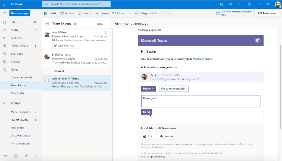 Reply to a Teams message directly from Outlook