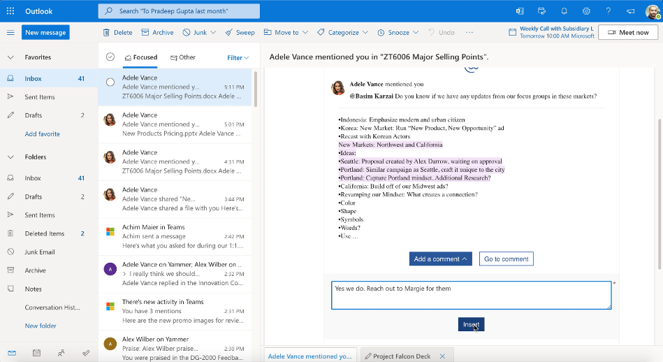Respond to a comment on an Office document from within Outlook