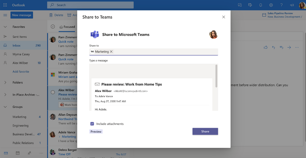 Share emails to Teams with the Share to Teams option available from the overflow menu