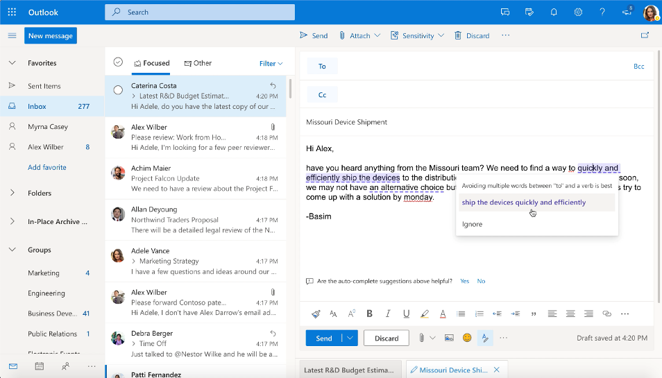 Get your message across in a concise and clear way using the Editor in Outlook