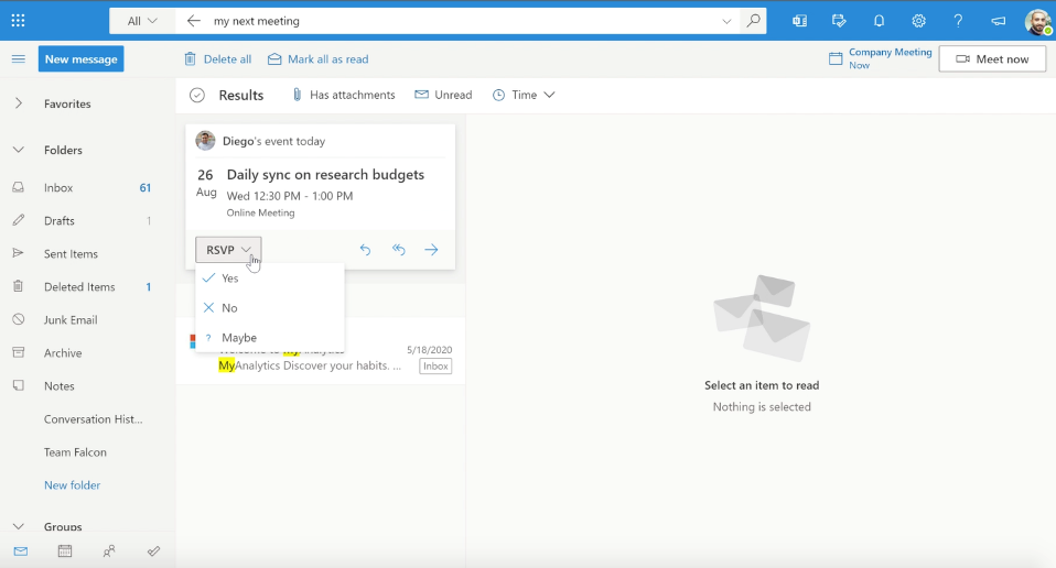 Find information about an upcoming meeting and take action with search in Outlook