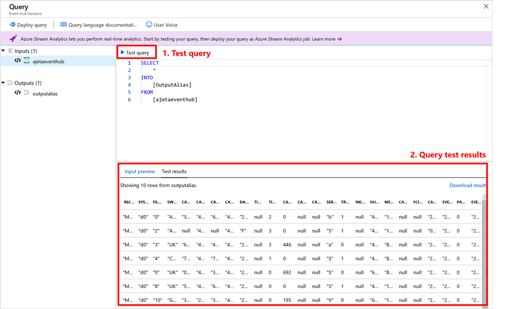 Test your query in Azure portal by using a local file or sample of live data