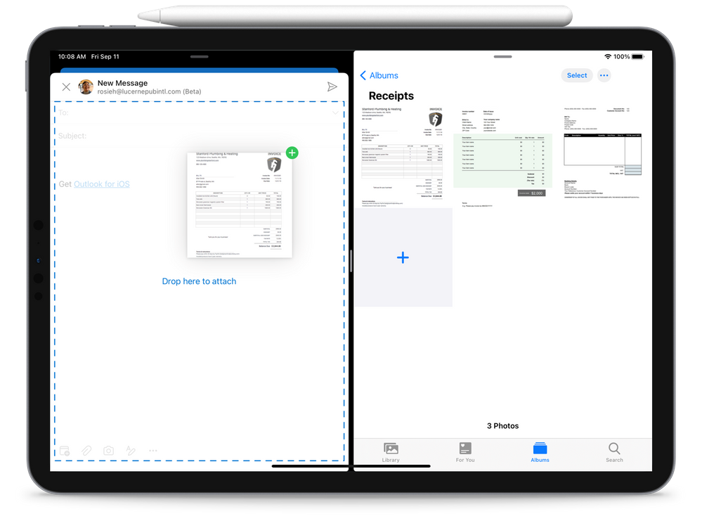 Drag and drop images from OneDrive to Outlook on iPad