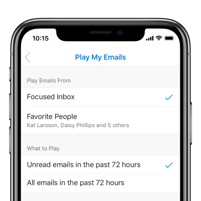 Customize to play emails from your favorite people