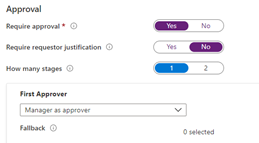"The ""New access package"" screen in the Azure portal, for a policy configuring manager as approver."
