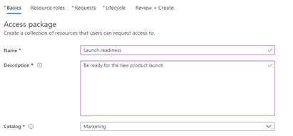 "The ""New access package"" screen in the Azure portal."