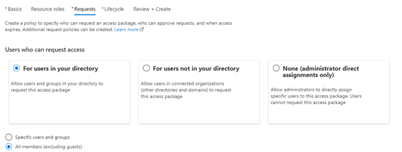"The ""New access package"" screen in the Azure portal, creating a policy for all member users to be able to request."