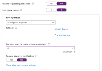 "The ""New access package"" screen in the Azure portal, setting the first approver stage in a multi-stage approval workflow."