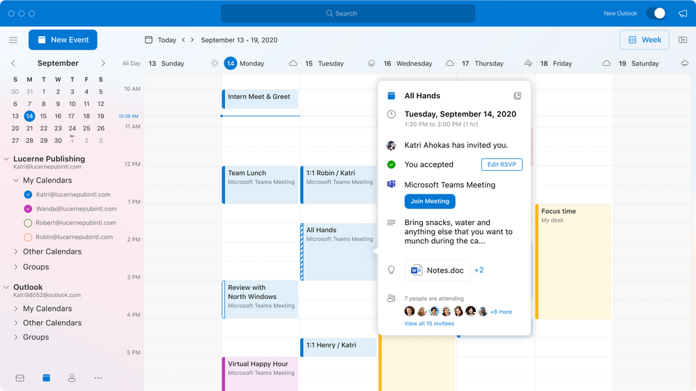 The Calendar experience provides an easy and intuitive way to get the information you need and help you make the most of your time.