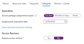"The ""New access package"" screen in the Azure portal, setting the access package assignment lifecycle for the policy."