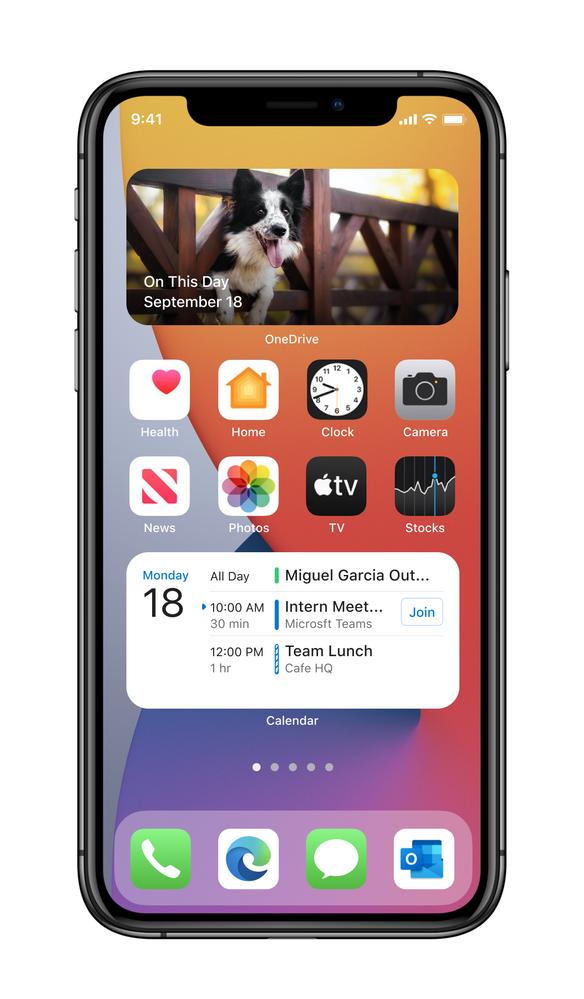 OneDrive and Outlook Calendar widgets - medium size