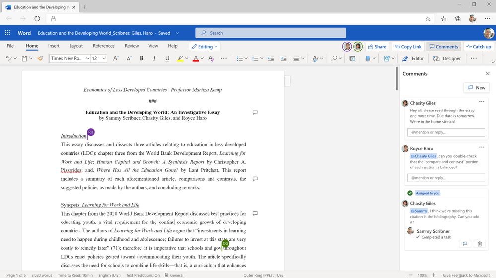 Collaborate in real time on group essays.