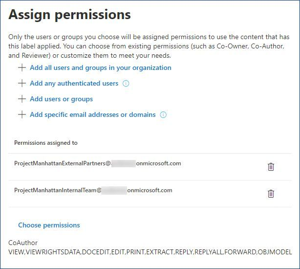 Figure 4: Assigning permissions to AAD groups.