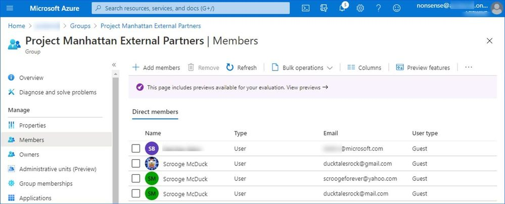 Figure 5: Group membership containing guests accounts from different providers.