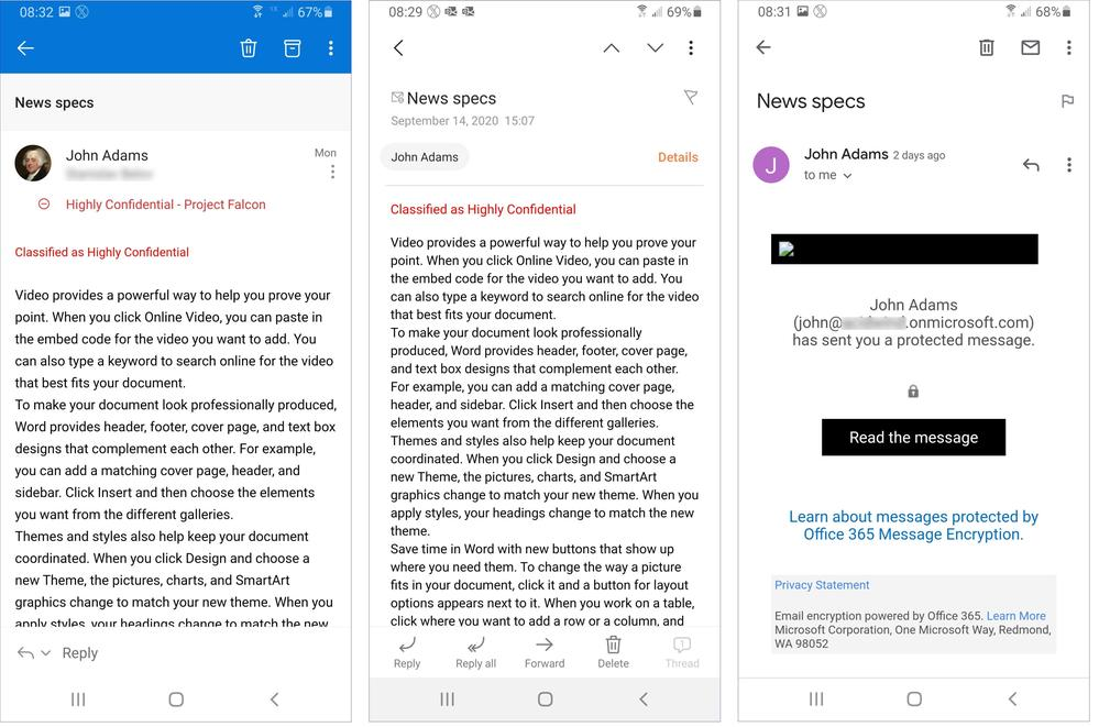 Figure 11: Accessing a protected email using Outlook, Samsung Email App and Gmail App on Android.