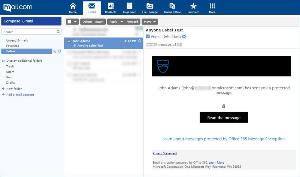 Figure 12: Protected email sent to a mail.com user.