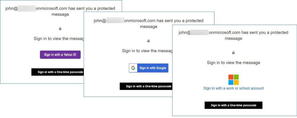 Figure 13: OME authentication page for different types of identity.