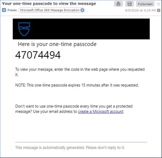 Figure 14: One-time passcode sent to a mail.com user.