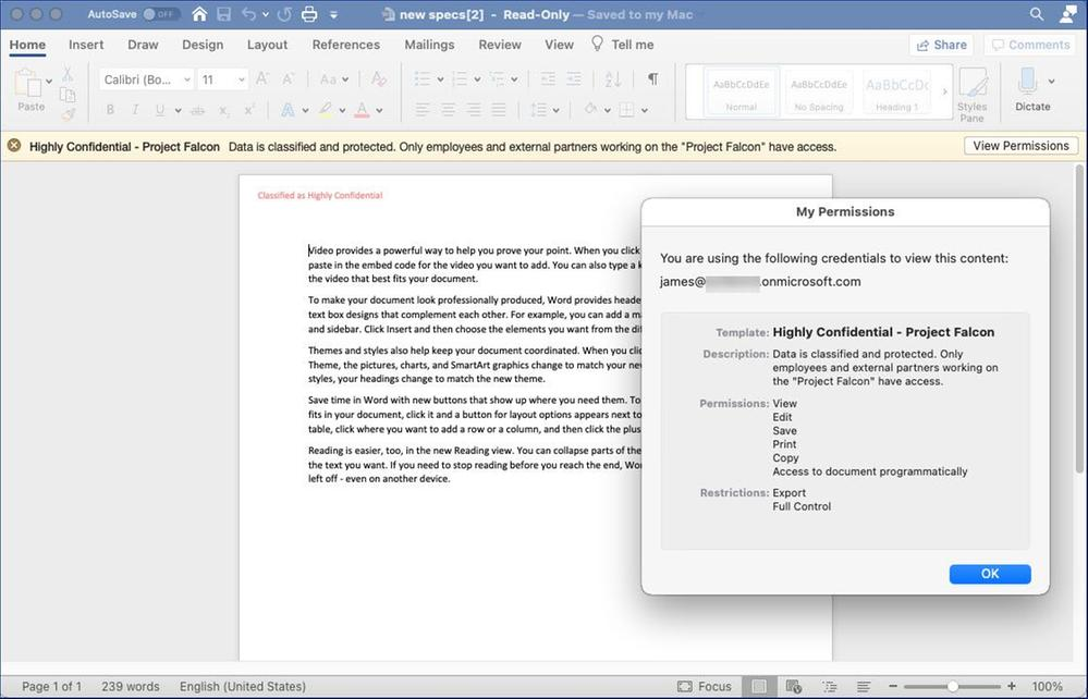 Figure 17: Accessing a protected document shared by a user from a different AAD tenant using Office 365 for Mac.