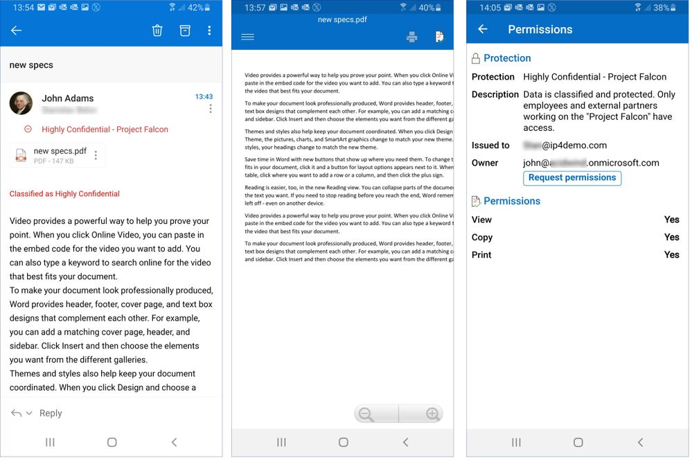 Figure 20: Accessing a protected PDF file using AIP Viewer App on Android.