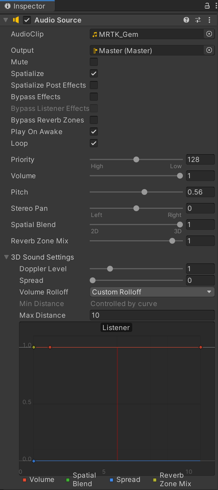 Unity Audio Source settings to enable spatial audio and disable distance attenuation