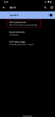 Android - Wi-Fi settings