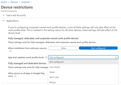 Android Enterprise - Device restriction profile settings