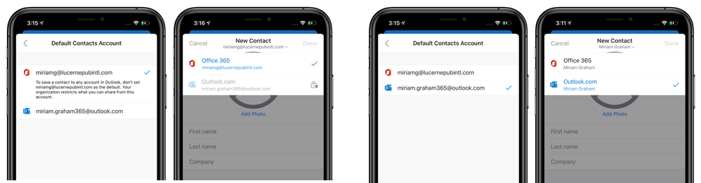 Choose a default account for new adding new contacts
