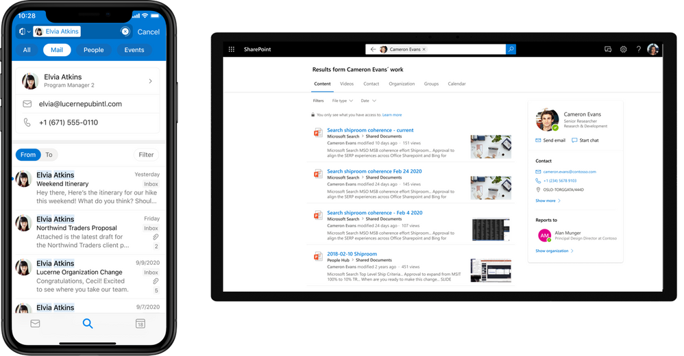People-centric search in Outlook mobile and SharePoint