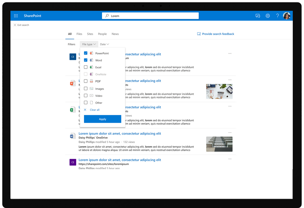 Improved filter design and new filters in SharePoint